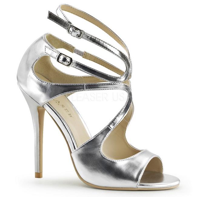 AMUSE-15 sandalias tacón alto plata talla 37 - 38